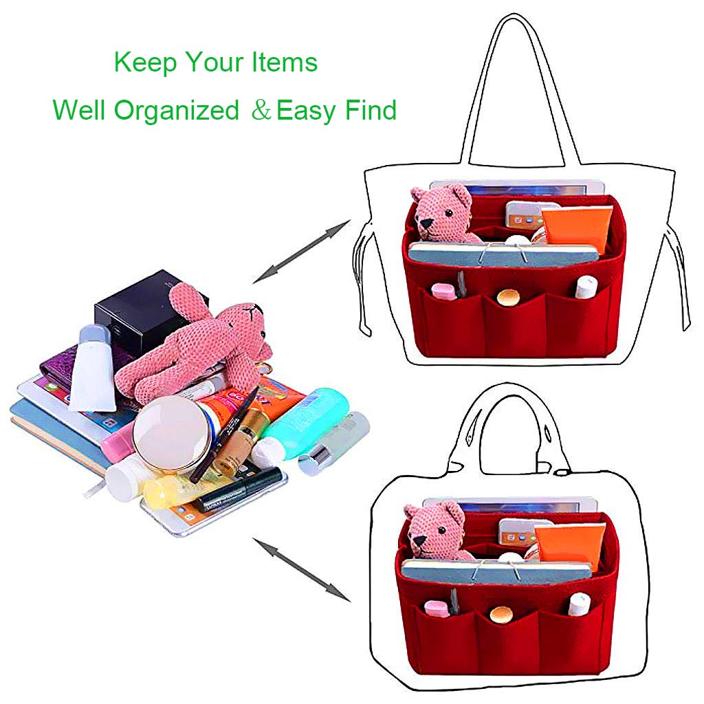Purse Organizer Insert Felt Bag In Bag with Multi Pockets Handbag /& Tote Shaper