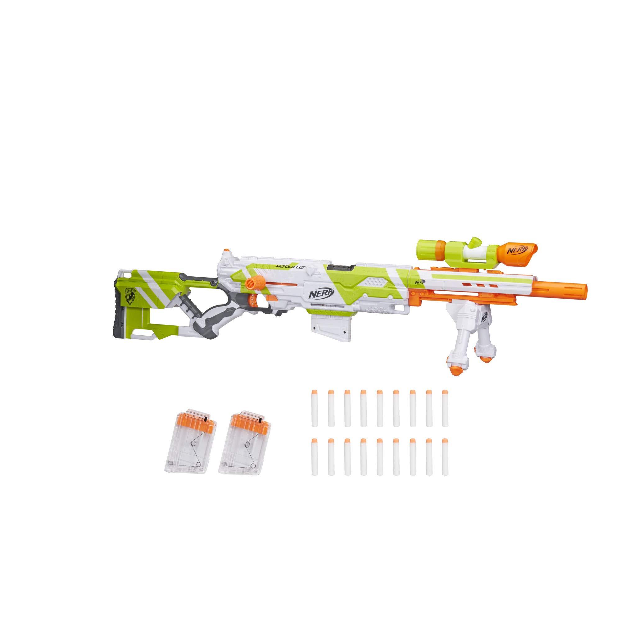 Longstrike Nerf Modulus Toy Blaster with Barrel Extension, Bipod, Scopes, 18 Modulus Elite Darts & 3 Six-Dart Clips (Amazon Exclusive) by NERF