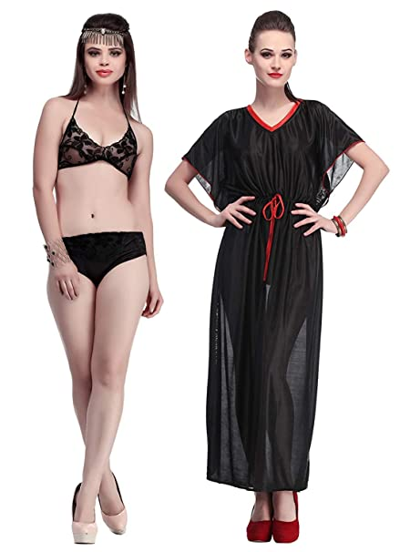 1de0e051c6 Image Unavailable. Image not available for. Color  Miss Pixy Women s Solid  Black Nighty with Bikini Set Combo Poly Satin Night Wear Dress