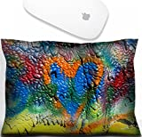 Luxlady Mouse Wrist Rest Office Decor Wrist Supporter Pillow IMAGE: 23193338 mottled spray painted with dripping texture and orange heart