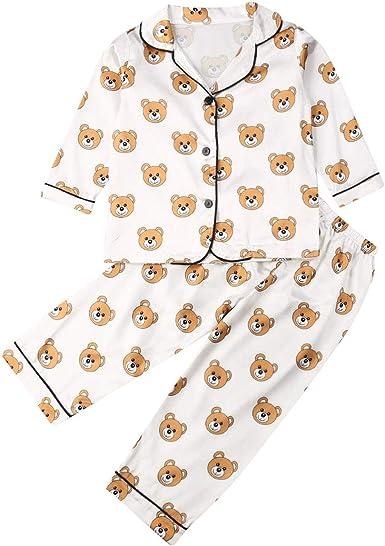 Conjunto de Pijamas para Niños Lindo Oso Animal Ropa de Dormir Niños Lunares Dibujos Animados Niños Conjunto de Ropa Bebé Niñas Hogar Ropa de Dormir ...