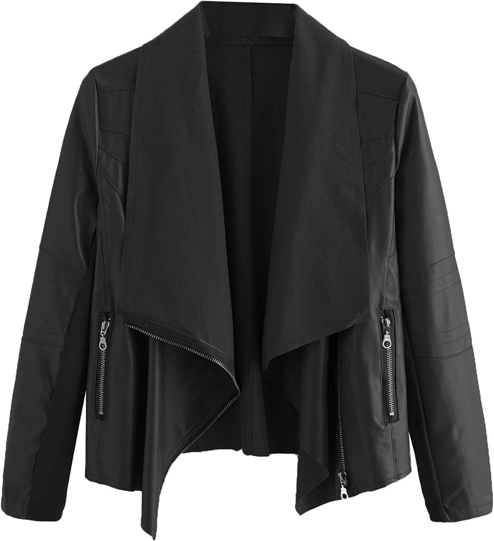 MakeMeChic Womens PU Moto Jacket Zipper Faux Leather Biker Short Coat Jacket