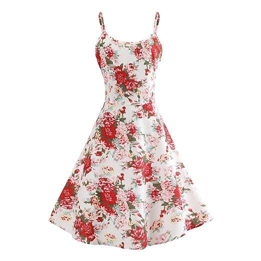 Women Dresses Godathe Women Vintage Printing Bodycon Sleeveless Casual Evening Party Prom Swing Dress S-