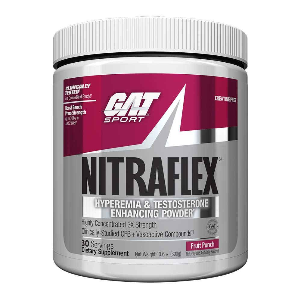 GAT – NITRAFLEX – Testosterone Boosting Powder, Increases Blood Flow, Boosts Strength and Energy, Improves Exercise Performance, Creatine-Free Fruit Punch, 30 Servings