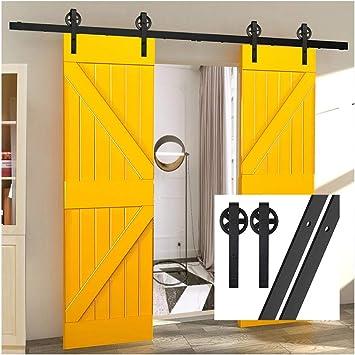 gifsin 19FT/579cm Herraje para Puerta Corredera Kit de Accesorios para Puertas Correderas,Negro J-Forma Con Rodillos Grande: Amazon.es: Bricolaje y herramientas