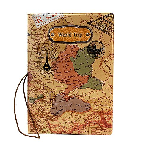 Di Grazia Waterproof Passport Holder, Passport Protective Case (Brown , Brown-Map-Passport-Cover)