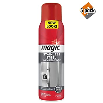 Magic Stainless Steel Cleaner Aerosol - 17 Ounce - Removes Fingerprints Residue Water Marks and Grease From Appliances - Refrigerator Dishwasher Oven ...