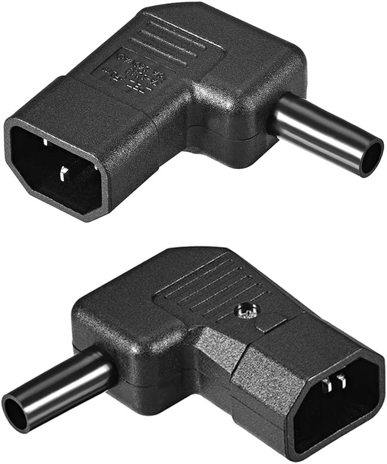 uxcell AC110-250V 10A Male IEC320 C14 Power Socket Adapter Receptacle Connector Right Angle 2 Pcs