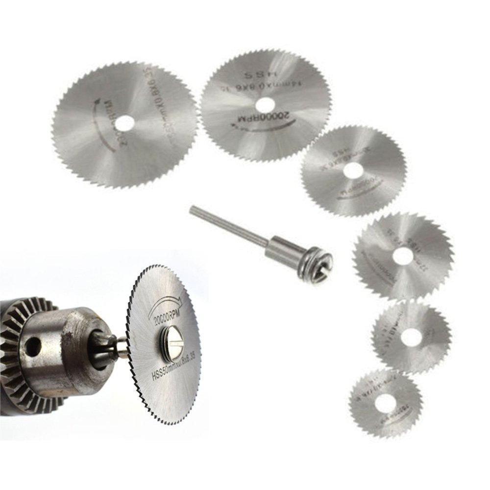 Set de 6 hojas de sierra circular de acero de alta velocidad con mandril para herramientas rotativas, compatible con taladros giratorios con hojas de corte Shineus