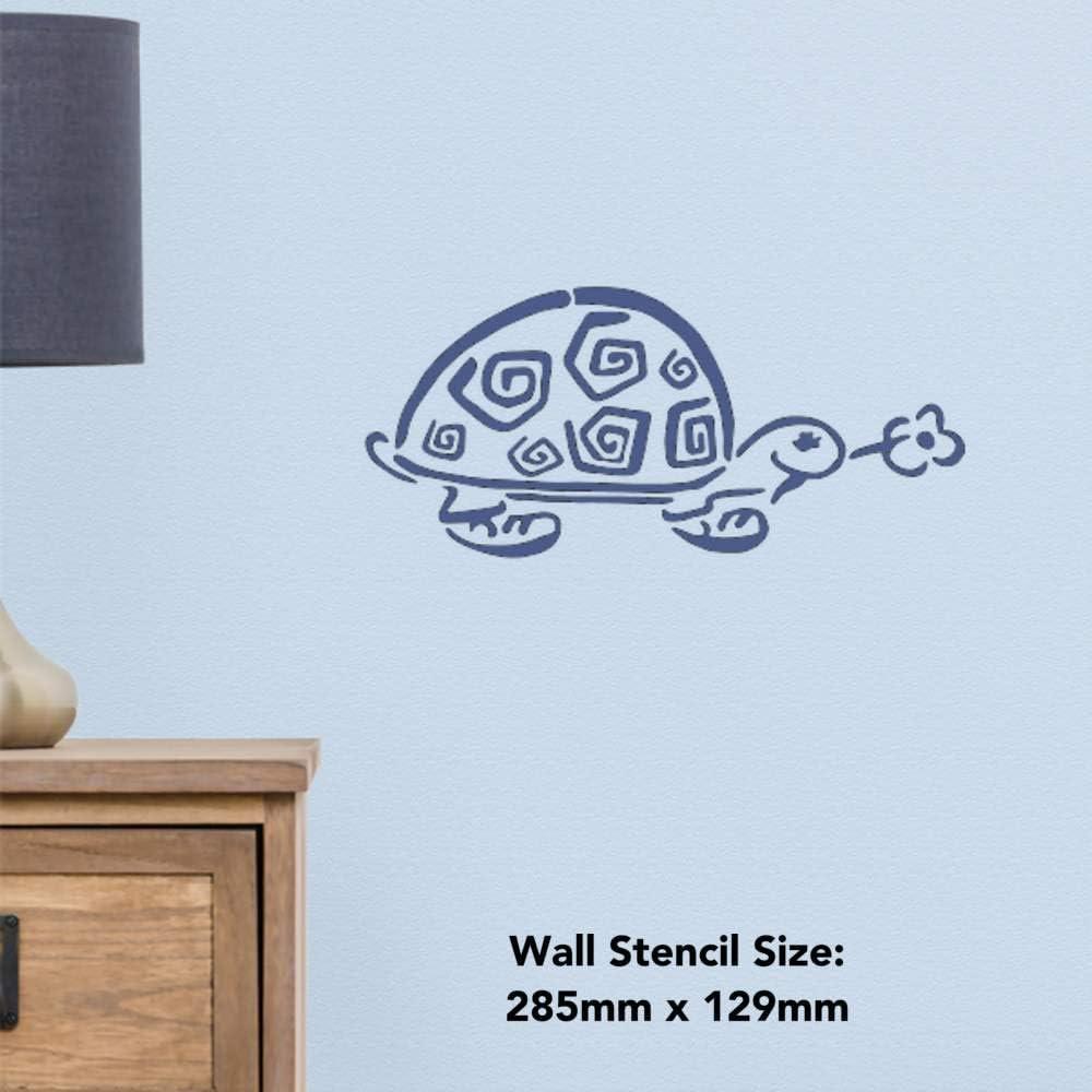 Template WS00001050 Azeeda A5 Tortoise with Flower Wall Stencil