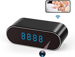 Spy Camera WiFi Hidden Camera Clock 1080P Wireless Nanny Cam with Night Vision,Motion Detection,140 Wide Angle for Home Security