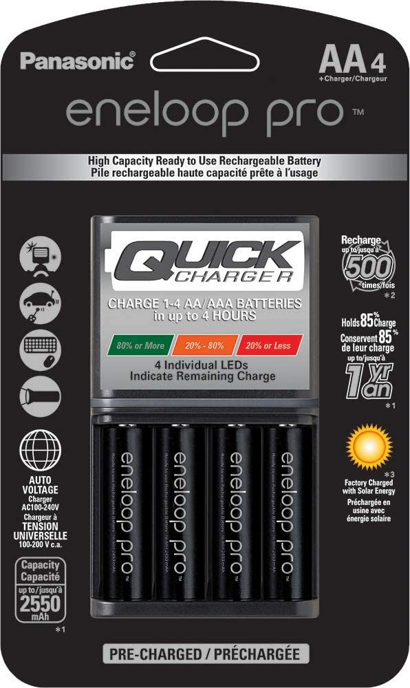 Panasonic K-KJ55KHC4BA Advanced 4 Hour Quick Battery Charger with 4AA Eneloop Pro High Capacity Rechargeable Batteries Renewed