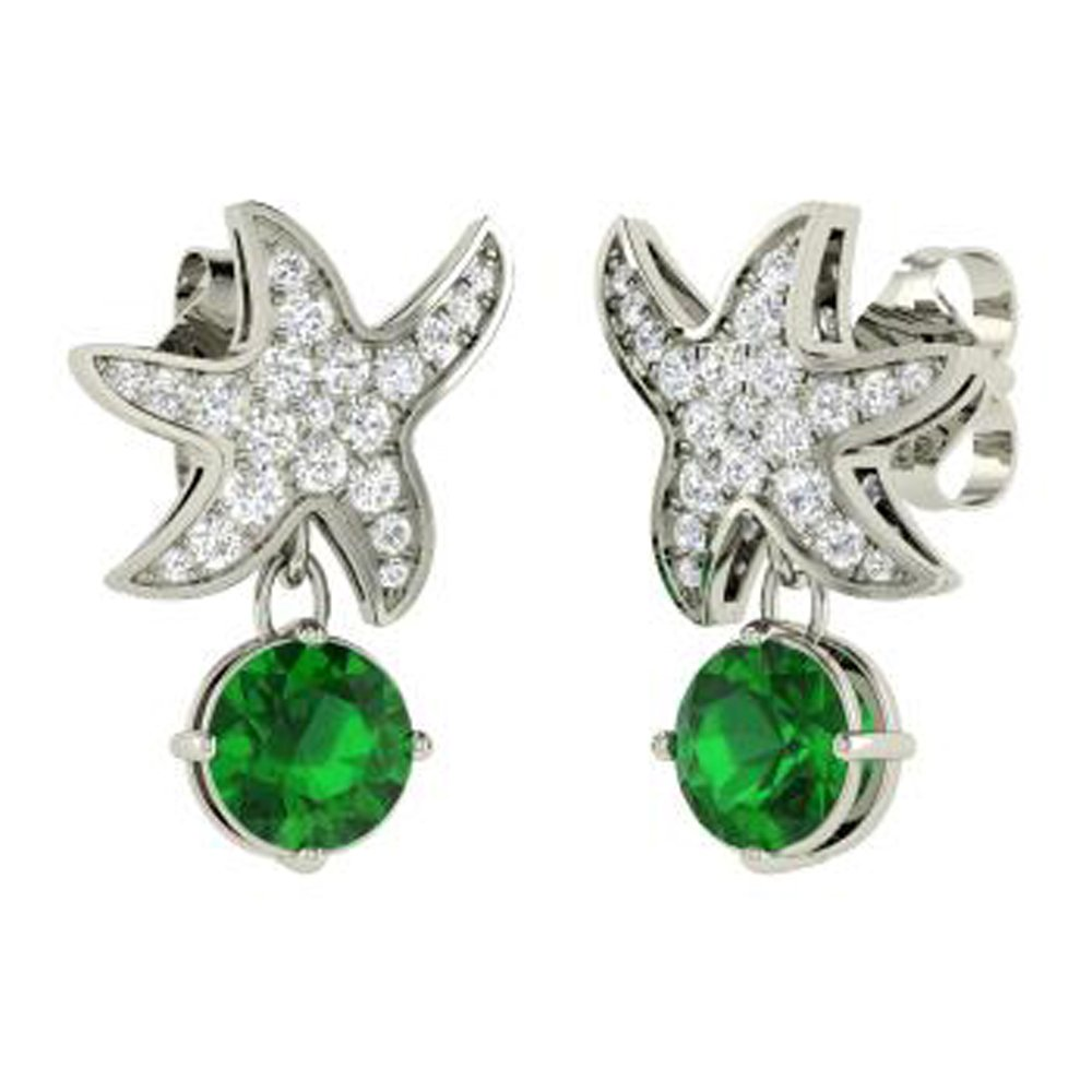 Dividiamonds 1.39 Ct Round Cut Emerald /& Simulated Diamond Starfish Drop Earrings In 14K Gold Plated 925
