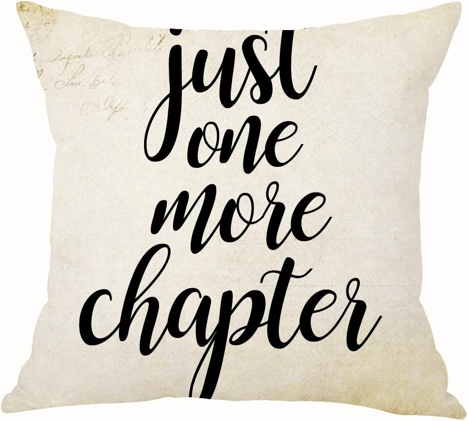 ASTIHN Retro Just One More Chapter Book Reading Inspirational Motto Cotton Linen Throw Pillow Cover Cushion Case Home Chair Office Decorative Square 18 X 18 inches