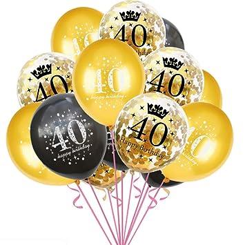 Haihuic 40 cumpleaños Globos de Decoracion, 15 Piezas de ...