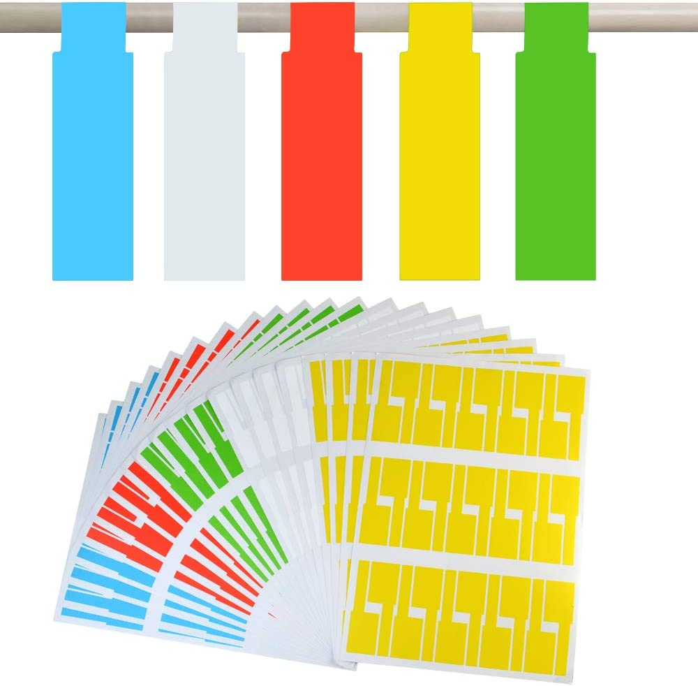 20 Sheets, 5 Assorted Colors Cable Tags Cable Labels Stickers Self Adhesive Cord Tags for Laser Printer 600 Pcs Waterproof Tear Resistant Lables