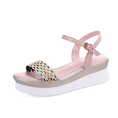 239a6070af92 AllhqFashion Women s Open Round Toe Cow Leather Kitten Heels Solid Sandals  with Braid and Ruched