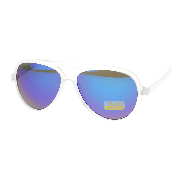 Mirrored Mirror Lens Frost Frame Plastic Sport Racer Pilot Sunglasses Blue