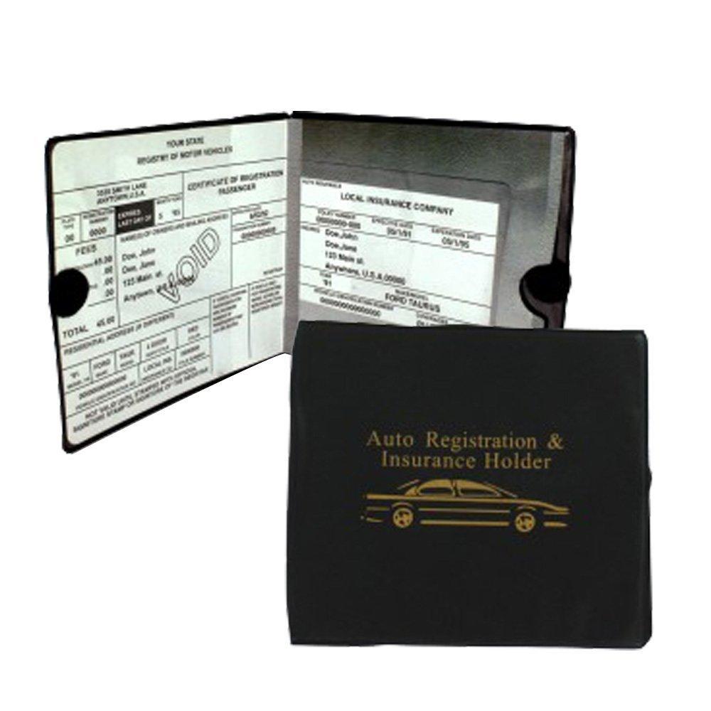 Set of 4 Auto Car Registration Insurance Holder Wallet Document Id Black Case for Car Truck Boat Kole 4347606405