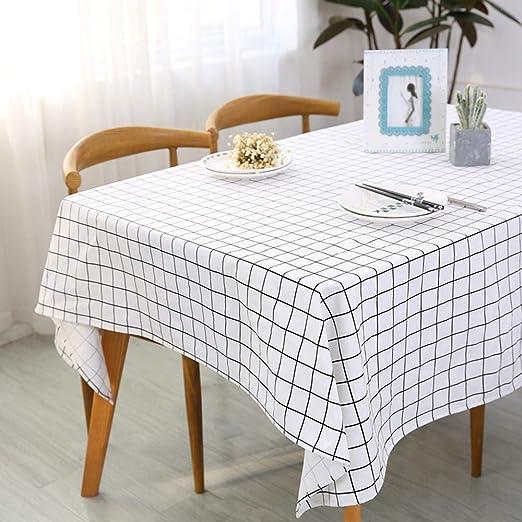 Asinw Mantel de algodón Mantel Cuadros Blanco y Negro Simple rectángulo nórdico manteles algodón Engrosamiento Cubre Mesa de Restaurante, hoteles y Fam Ilies: Amazon.es: Hogar