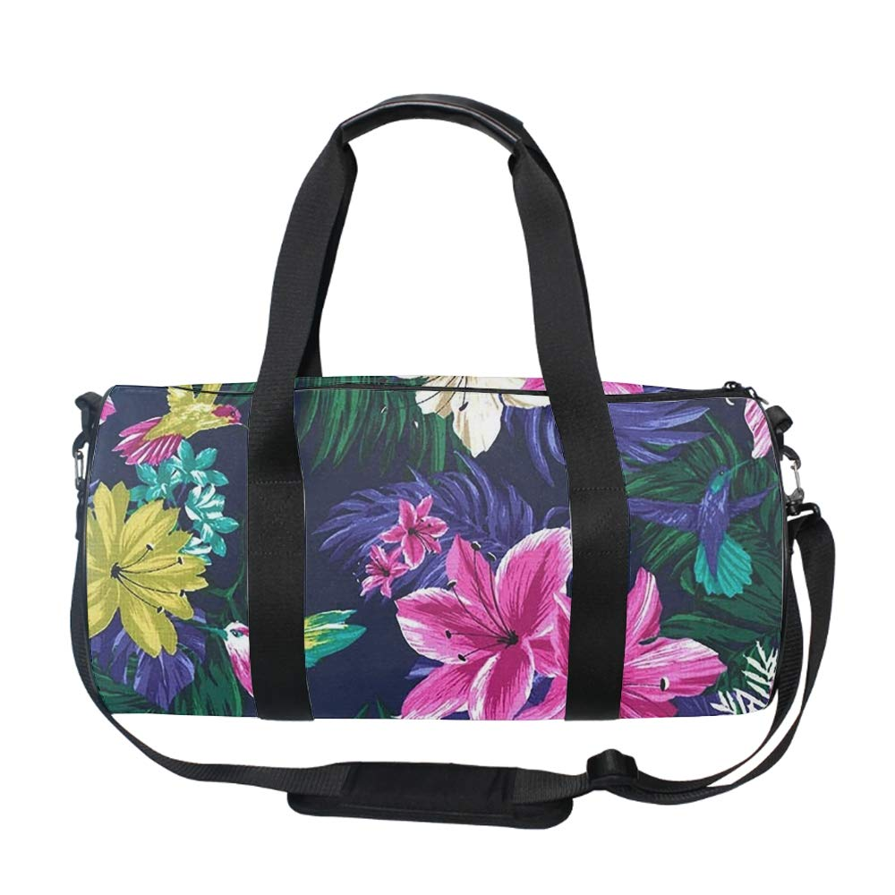 Oversized Hummingbirds And Hibiscus Tropical Jungle Flowers Travel Tote Luggage Weekend Duffel Bag