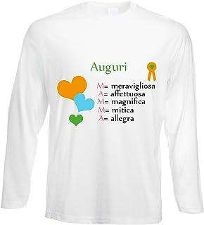 fashwork Tshirt a Maniche Lunghe Auguri Mamma - Love - - in Cotone by fshlX26