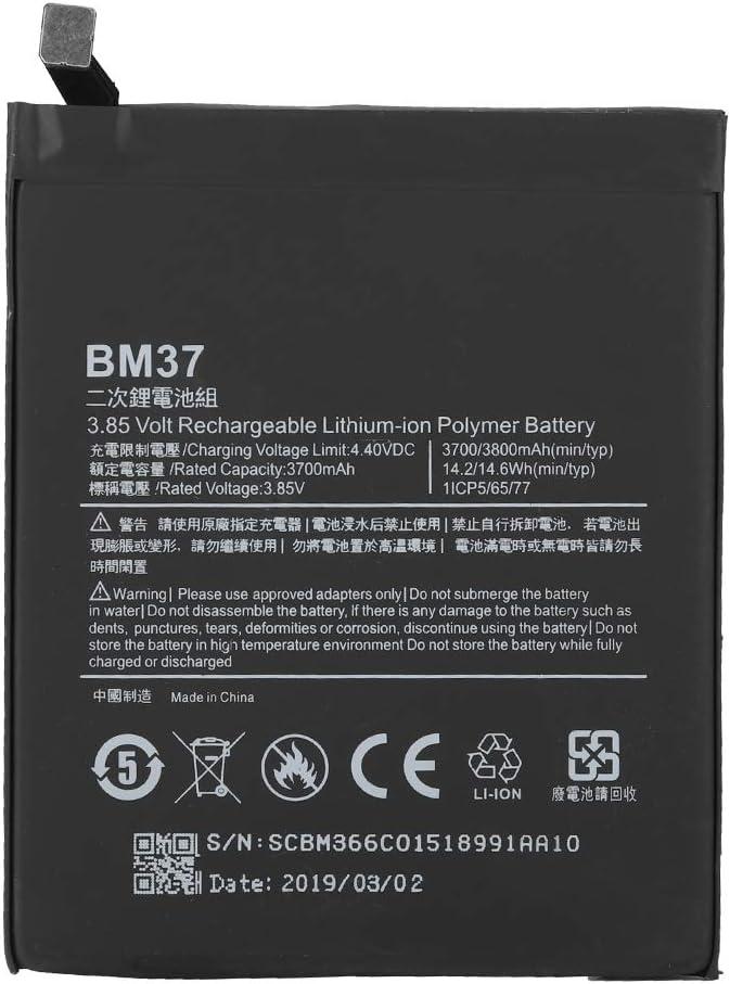 Kafuty Batería para teléfono móvil BM37 4.4V 3700mah Batería de Litio Original Reemplazo Recargable para Xiaomi 5S Plus: Amazon.es: Electrónica