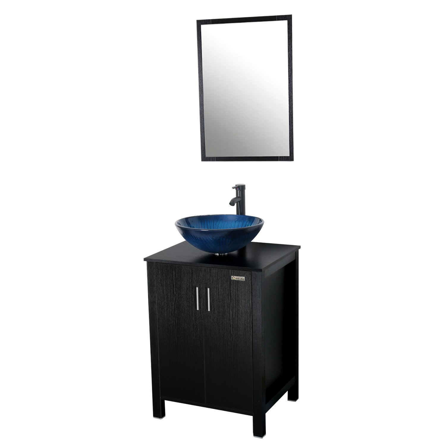 Eclife 24 inch Big Storage Bathroom Vanity Combo Modern MDF Cabinet with Vanity Mirror Tempered Glass Counter Top Vessel Sink with 1.5 GPM Faucet and Pop Up Drain (Blue Combo)