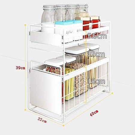 Cocina bajo el fregadero Organizador - 2 niveles de cajón cesta de ...