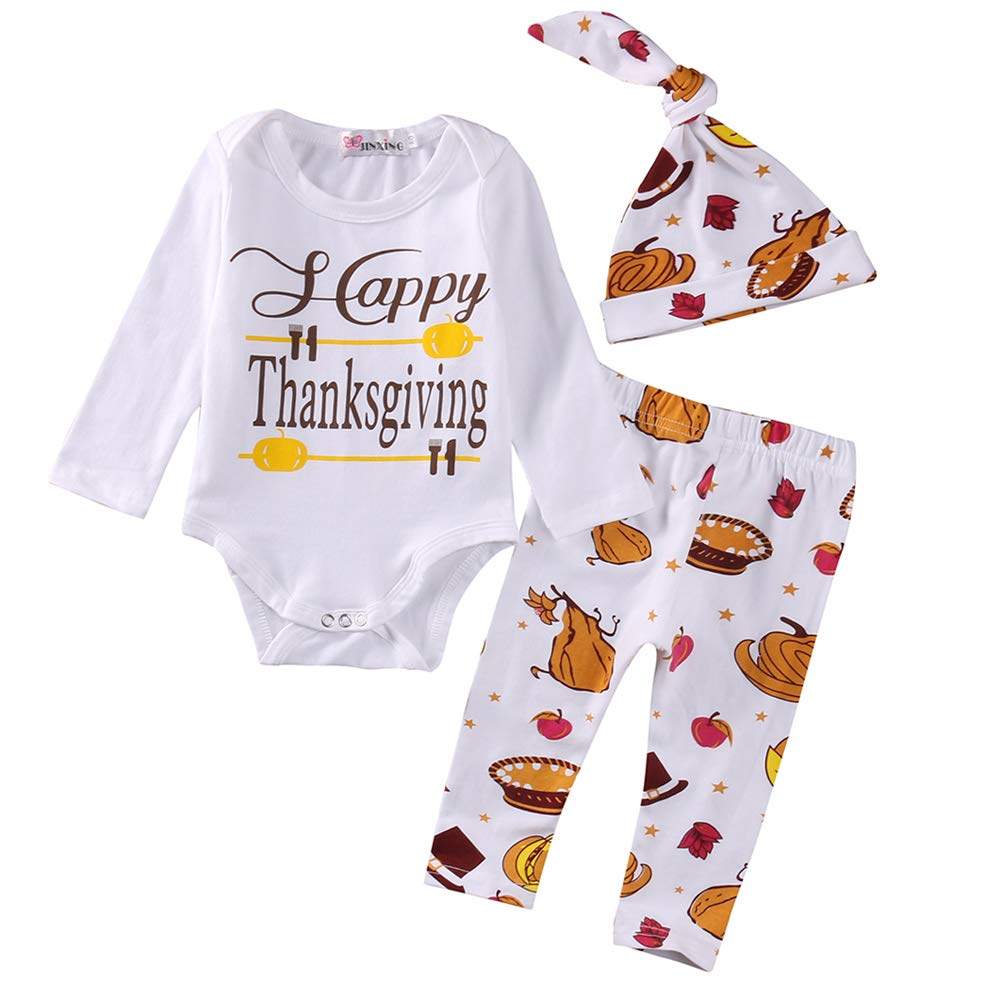 WOSENHK 4Pcs Newborn Baby Boys Girls 1st Thanksgiving Bodysuit Long Sleeve Romper Pants Outfit with Hat and Headband