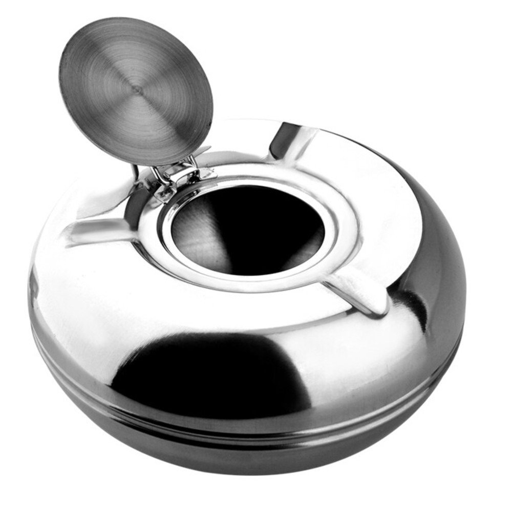Be&xn Stainless steel ashtray, Large With lid Windproof European style Sealed Cigar cigarette cshtray Indoor outdoor House decorations-A D13xH6cm(5x2inch)
