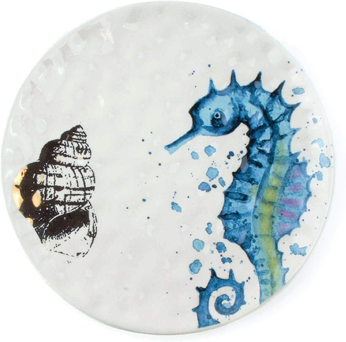 Amazon Com Kitchen Decor Beach Decorations For Home Wall Hanging Coastal Novelty Plates Seahorse Ceramic Decorative Plate Dining