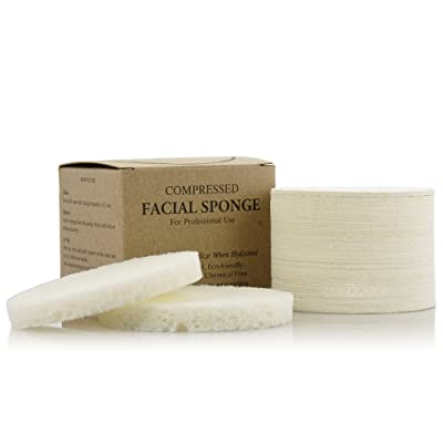 Appearus Compressed Natural Cellulose Facial Sponges, White, Made in USA (50 Count)