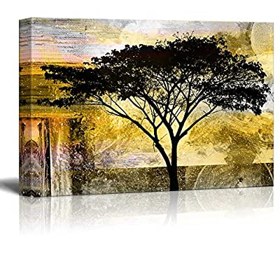 Marvelous Artisanship, Classic Design, Abstract Black Tree on Grunge Background
