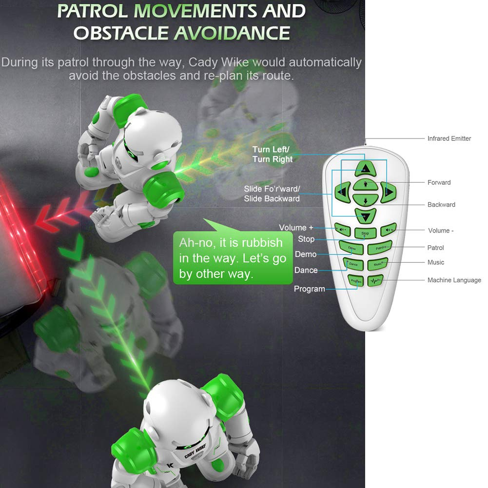 Yoego Remote Control Robot, Gesture Control Robot Toy for Kids, Smart Robot with Learning Music Programmable Walking Dancing Singing, Rechargeable Gesture Sensing Rc Robot Kit (Green) by Yoego (Image #6)