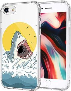MOSNOVO iPhone SE 2020 Case, iPhone 8 Case, iPhone 7 Case, Shark Pattern Printed Clear Design Transparent Plastic Hard Back Case with TPU Bumper Case Cover for iPhone 7 / iPhone 8 / iPhone SE 2020