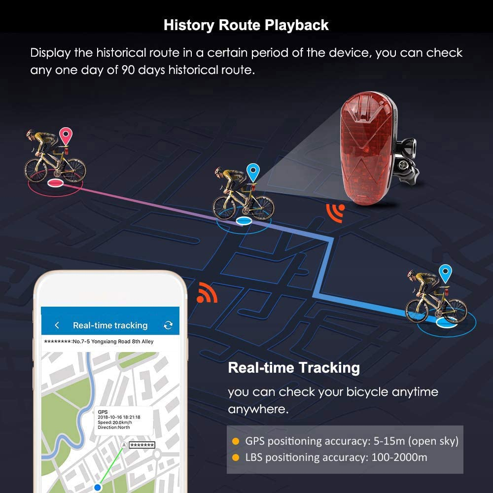 WOVELOT Localisateur de Feux Arri/èRe de Moto Tracker GPS Temps de Veille 300 Heures Dispositif de Suivi DAvertissement de S/éCurit/é Anti-Effraction pour Motos V/éLos