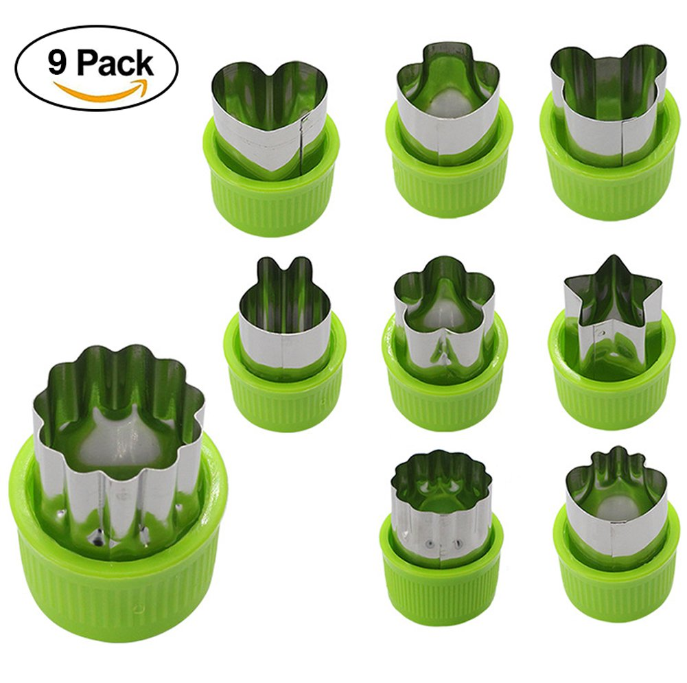 9Pcs/Set Vegetable Mould Cutter,Vegetable Cutter Shapes Set Mini Pie Fruit and Cookie Stamps Mold,Cookie Cutter Decorative Food Kids Baking Tools Accessories Crafts,Fruit Mold Tools Set(Green+Silver) Ainstsk