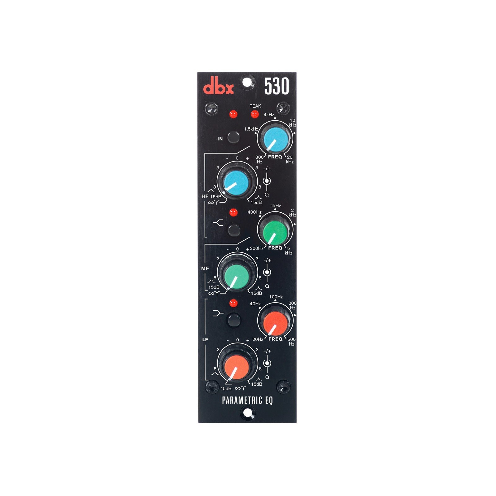DBX 530 | Analog Overlapping High Low 3 Band Selectable Bell Shelf Type Filter Parametric Equalizer