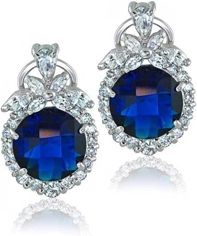 Sterling Silver Elegant Rectangular Shape Leverback Earring With Center CZ Colored Stone Stud