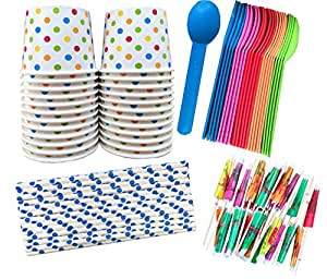 Outside the Box Papers Ice Cream Sundae Kit - Polka Dot Paper Cups, Plastic Spoons, Polka Dot Paper Straws, Paper Umbrellas 24 of Cups, Spoons, Umbrellas - 25 Straws Blue, Pink, Orange, Yellow, Green