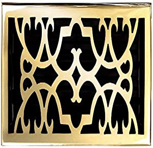 Brass Elegans 120HR-PLB Solid Cast Brass Victorian 6-Inch by 12-Inch Floor Register, Polished Brass Finish Model