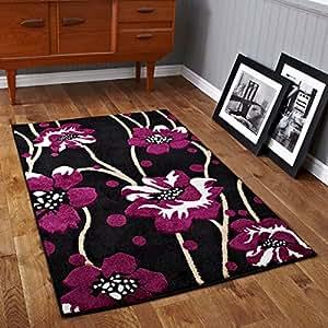Think Rugs 60 x 225 cm Verona 216 alfombra, Negro/morado
