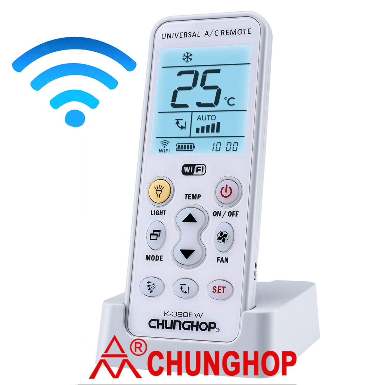 Chunghop WiFi Universal Air Conditioner Remote A/C Controller Air Conditioning Mobile Phone APP Preheating Remote Control K-380EW not for Window A/C