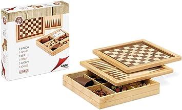Cayro - Ajedrez/Damas/Backgammon Marquetería— Juego de observación y lógica - Juego Mesa - Desarrollo de Habilidades cognitivas e inteligencias múltiples - Juego Tradicional (603): Amazon.es: Juguetes y juegos