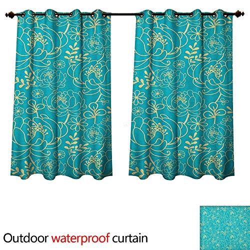Anshesix Yellow and Blue Outdoor Curtain for Patio Classic Floral Twig Leaves Blooms Petals Essence Flowers Design W72 x L72(183cm x 183cm) (Petal Knob Flower Design)