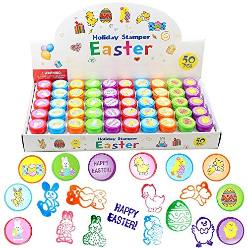 Stamper Easter - 50 Easter Craft Stampers - Assorted Colors and Fun Unique Patterns - Durable Self-Inking Design Prevents Mess - Won't Dry Out Fast - Perfect Size For Small Kids Hands or Hiding in Easter Eggs