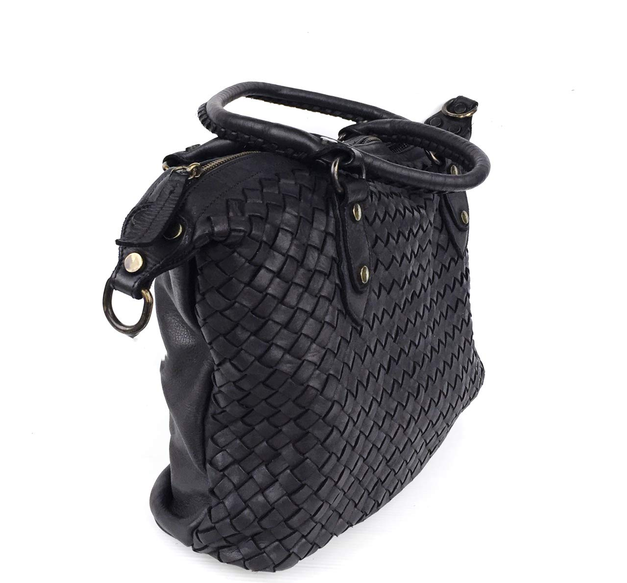 Superflygbags damväska hand- eller axelväska modell ALMERIA i äkta läder flätat Made In Italy svart