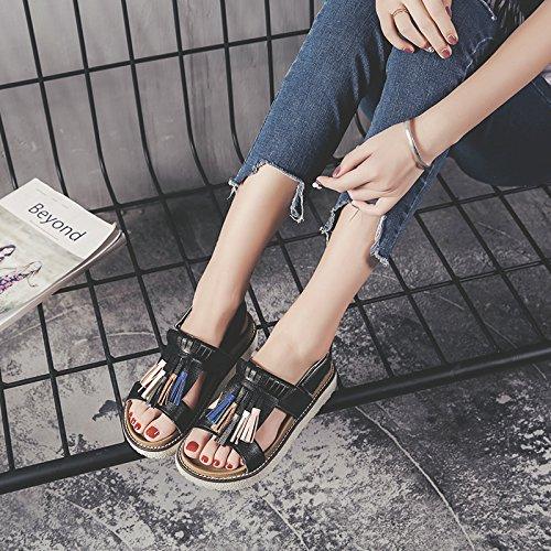 GAOLIM Calzado Plano Suaves Y Cómodos Zapatos De Mujer Y Sandalias Con Flujo De Color, Zapatos Sandalias De Verano Negro