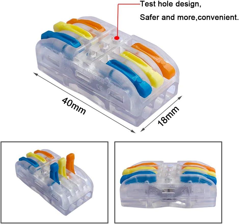 Bilat/éral 4 Trous Transparent Conducteur Compact Fil Connecteurs Compact Connecteur Ressort Bornier QitinDasen 15Pcs Premium Levier-Ecrou Fil Connecteur Set